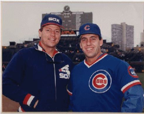Carlton Fisk and Dr. Phil Claussen in 1987.