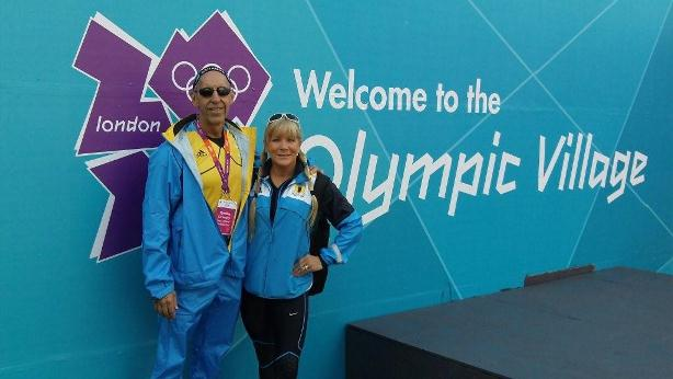 Dr. Claussen and Nancy Claussen at the Olympic Village in London for the 2012 Summer Olympics.