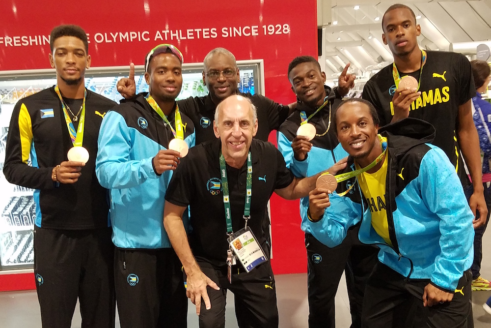 Dr. Claussen and the Bahamas' Mens 4 x 400m Bronze Medalists - Rio 2016.