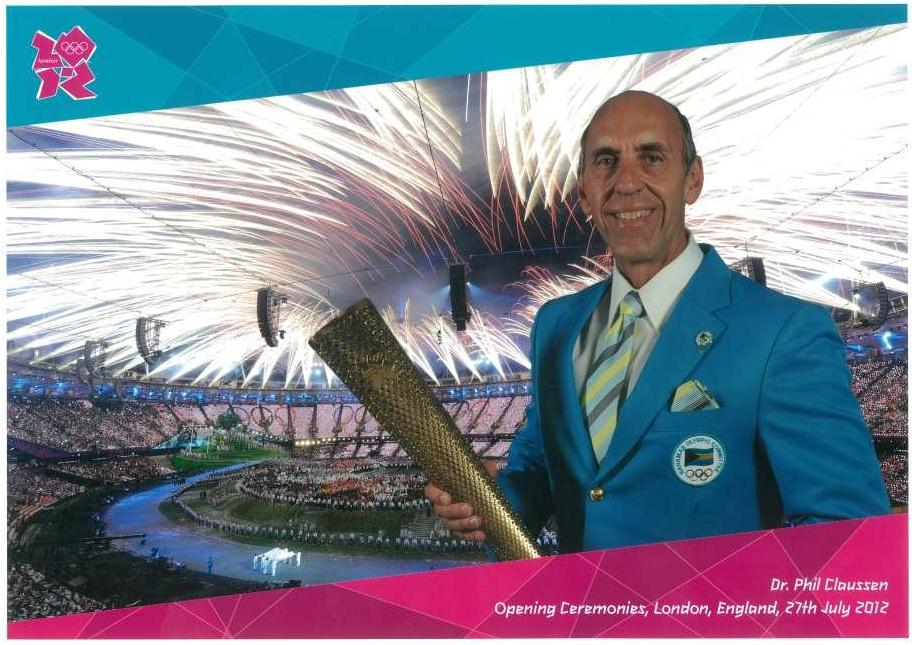Dr. Claussen before entering the stadium at the 2012 London Olympics opening ceremony.